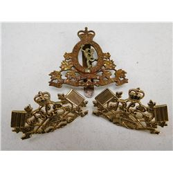 ROYAL CANADIAN CORPS OF SIGNALS COLLAR CAP BADGE & PINS