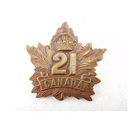 CEF 21ST BATTALION CAP BADGE