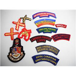 ASSORTED SHOULDER AND CHEST BADGES