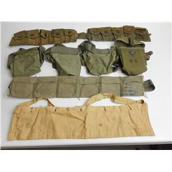 ASSORTED LOT OF 1945 & 1980 CND CLOTH BANDOLLIERS, USGI CART BELT , 10 POCKET MODEL  1923