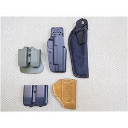 ASSORTED LOT OF MAG HOLSTERS AND PISTOLS HOLSTERS