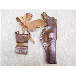 LEATHER SHOULDER HOLSTER & AMMO POUCH
