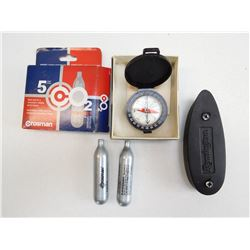ASSORTED LOT INCLUDING COMPASS, CROSMAN CO2 AND REM 870 RUBBER RECOIL PAD