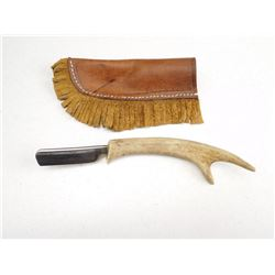 EDELWEISS STRAIGHT RAZOR WITH DEER ANTLER HANDLE