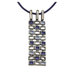 Crystal Rectangle Pendant Necklace - Rhodium Plated
