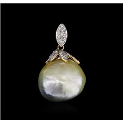 14KT Yellow Gold 21.38 ctw Pearl and Diamond Pendant