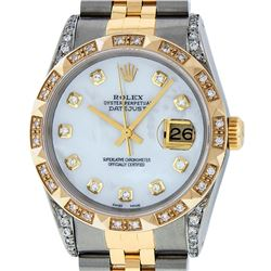 Rolex Mens 2T Mother Of Pearl Diamond Lugs Pyramid Bezel Datejust Wristwatch