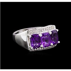 Crayola 2.40 ctw Amethyst and White Sapphire Ring - .925 Silver