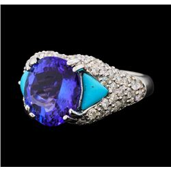 5.47 ctw Tanzanite, Turquoise and Diamond Ring - 14KT White Gold