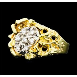 0.25 ctw Diamond Nature Ring - 14KT Yellow Gold