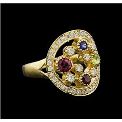 14KT Yellow Gold 0.75 ctw Multi Gemstone and Diamond Ring