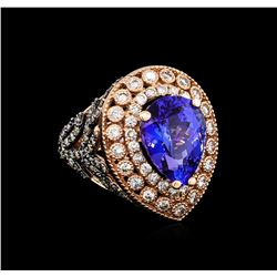 7.31 ctw Tanzanite and Diamond Ring - 14KT Rose Gold