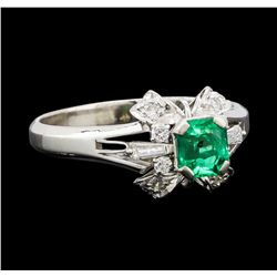 0.60 ctw Emerald and Diamond Ring - Platinum
