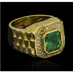 4.80 ctw Emerald and Diamond Ring - 18KT Yellow Gold