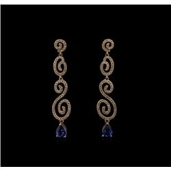 1.56 ctw Blue Sapphire and Diamond Earrings - 14KT Rose Gold