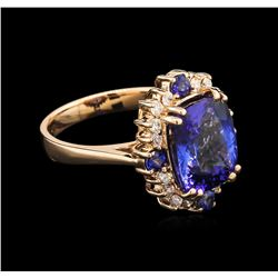 5.08 ctw Tanzanite, Blue Sapphire and Diamond Ring - 14KT Rose Gold