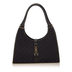 Gucci Black Canvas Jacquard Leather Trim Jackie Bag