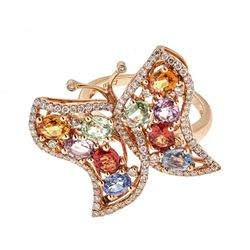 3.93 ctw Multi-color Gemstone Ring - 18KT Rose Gold