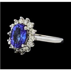 3.02 ctw Tanzanite and Diamond Ring - 14KT White Gold