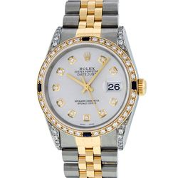 Rolex Mens Two Tone Diamond Lugs Silver Diamond and Sapphire Datejust Wristwatch