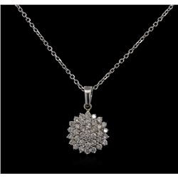 0.98 ctw Diamond Pendant With Chain - 14KT White Gold