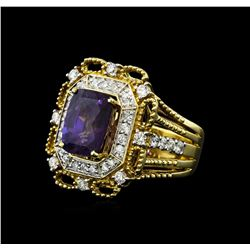 4.87 ctw Purple Sapphire and Diamond Ring - 14KT Two-Tone Gold
