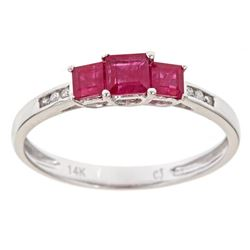 0.75 ctw Ruby and Diamond Ring - 14KT White Gold