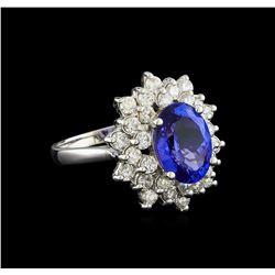 3.50 ctw Tanzanite and Diamond Ring - 14KT White Gold