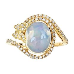 2.29 ctw Opal and Diamond Ring - 14KT Yellow Gold