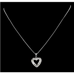 0.50 ctw Diamond Heart Pendant with Chain - 14KT White Gold