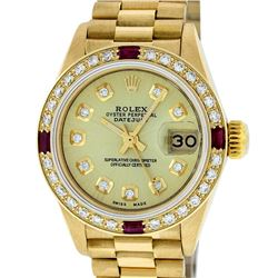Rolex 18KT Gold President Diamond and Ruby Ladies Watch