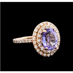 4.15 ctw Tanzanite and Diamond Ring - 14KT Rose Gold