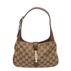 Gucci Brown Beige Monogram Canvas Leather Mini Jackie Bag