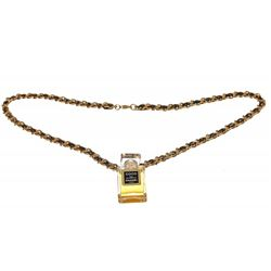 Chanel Black Leather Gold Woven Chain Perfume Bottle Pendant Necklace