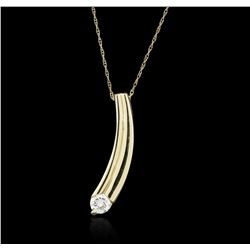14KT Yellow Gold 0.30 ctw Diamond Pendant With Chain