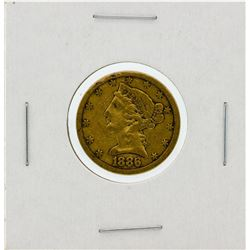 1886-S $5 VF Liberty Head Half Eagle Gold Coin