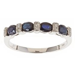 1.02 ctw Sapphire and Diamond Ring - 14KT White Gold