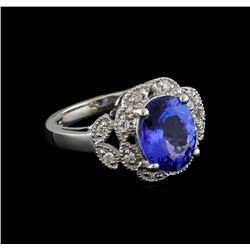 3.46 ctw Tanzanite and Diamond Ring - 14KT White Gold