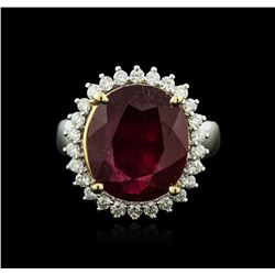 14KT Two-Tone Gold 8.30 ctw Ruby and Diamond Ring
