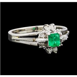 0.26 ctw Emerald and Diamond Ring - Platinum