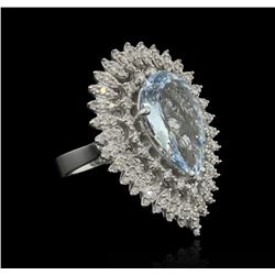 6.06 ctw Aquamarine and Diamond Ring - 14KT White Gold