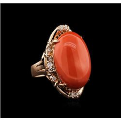 14KT Rose Gold 16.11 ctw Pink Coral and Diamond Ring