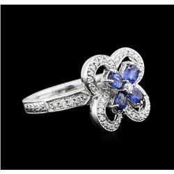 0.80 ctw Sapphire and Diamond Ring - 14KT White Gold