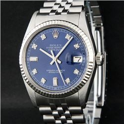 Rolex Stainless Steel Blue Diamond And White Fluted Datejust Mens Wristwatch