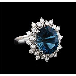 4.00 ctw Blue Topaz and Diamond Ring - 14KT White Gold