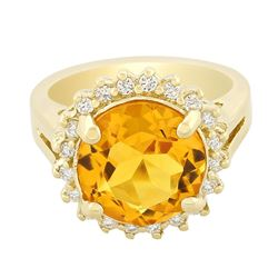 14KT Yellow Gold 4.38 ctw Citrine and Diamond Ring