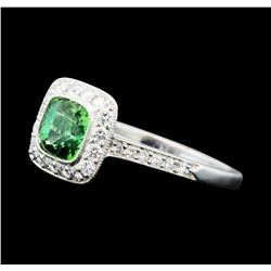 1.23 ctw Helenite and Diamond Ring - Platinum