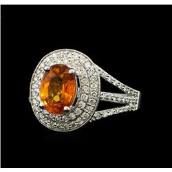 2.20 ctw Mandarin Spessartite and Diamond Ring - 14KT White Gold