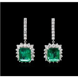 18.16 ctw Emerald and Diamond Earrings - 18KT White Gold