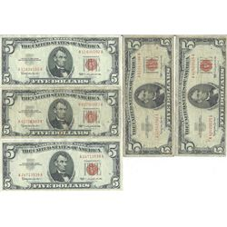 1963 $5 Red Seal Bill Lot of 5